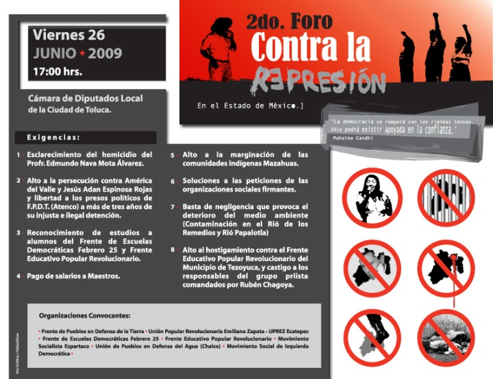 Cartel Foro Contra la Represión